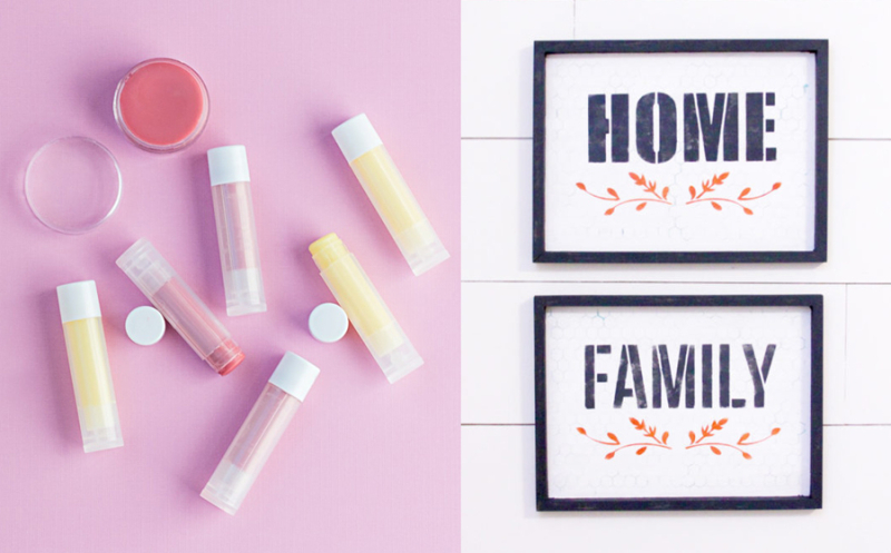 Home and family signs, DIY lip balm