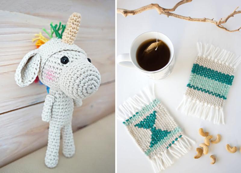 Crocheted unicorn pattern, DIY woven coasters