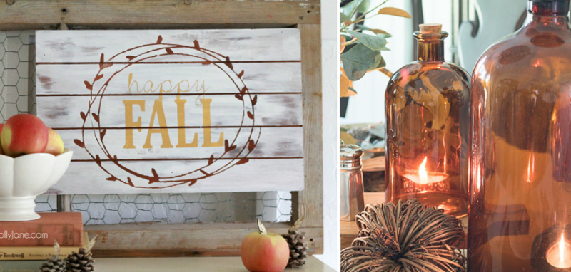 Happy fall pallet sign,brown mercury jar candle covers