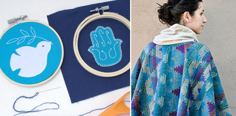 Jewish embroidery hoop art, DIY simple poncho