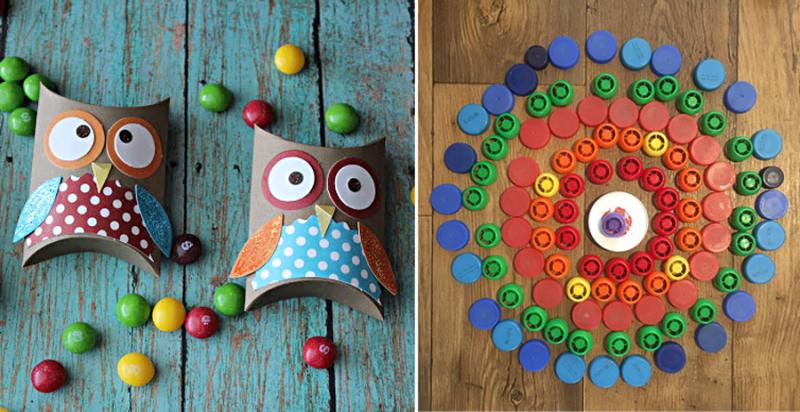 Bottle Top Mandala, owl tube treat boxes