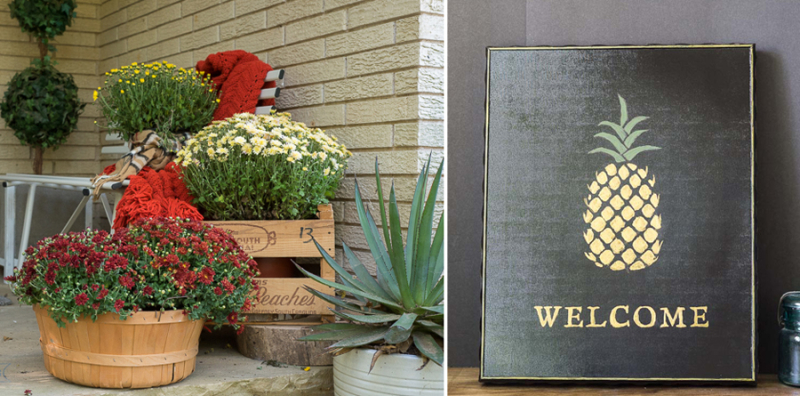 Stenciled pineapple welcome sign,front porch fall ideas