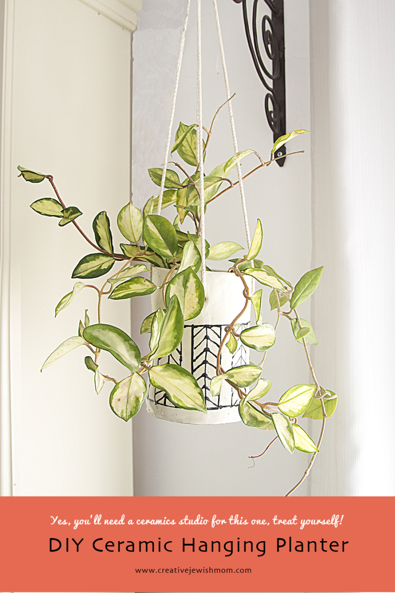 Ceramic Herringbone Pattern hanging planter