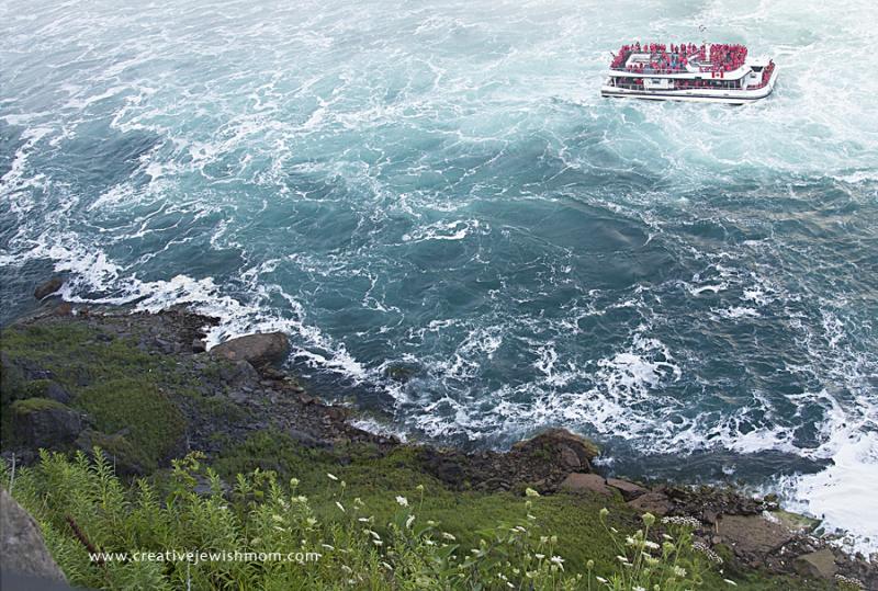 Niagara Falls Looking Down At Cruise Boat