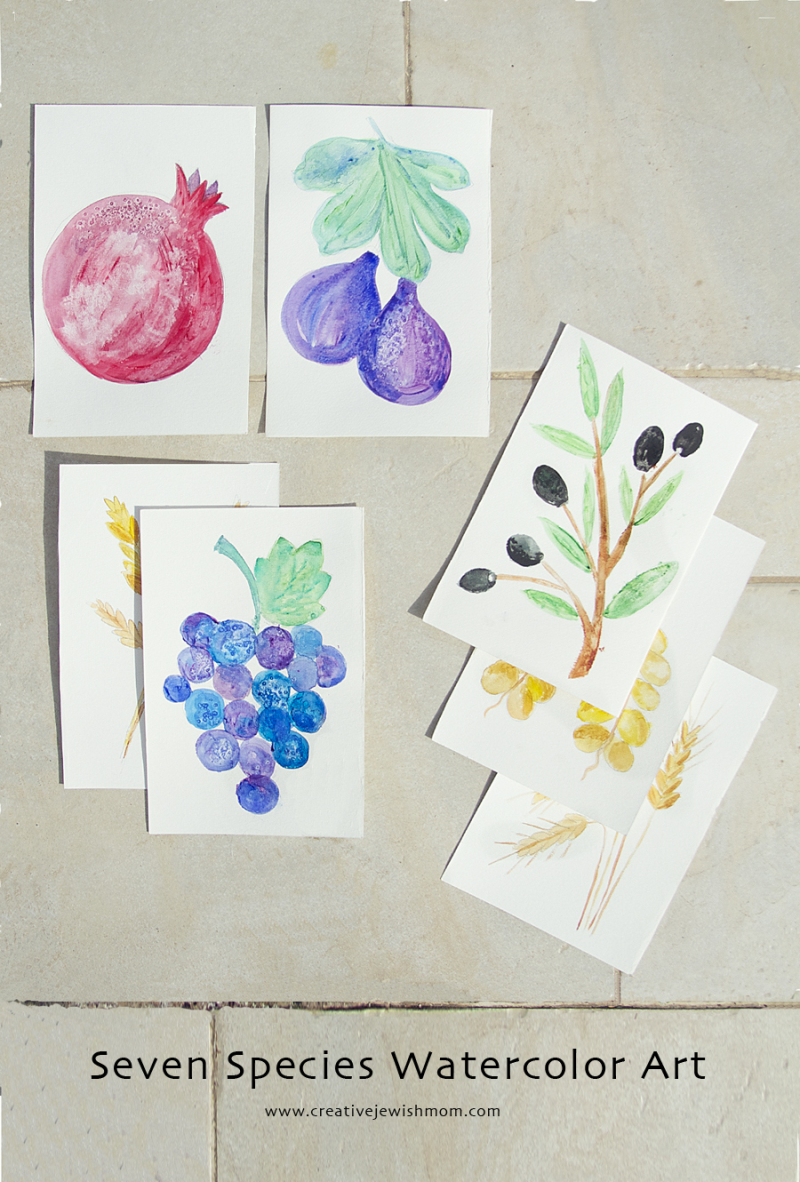 Watercolors Of Fruit Pomegranites, Grapes, Figs, Olives, dates