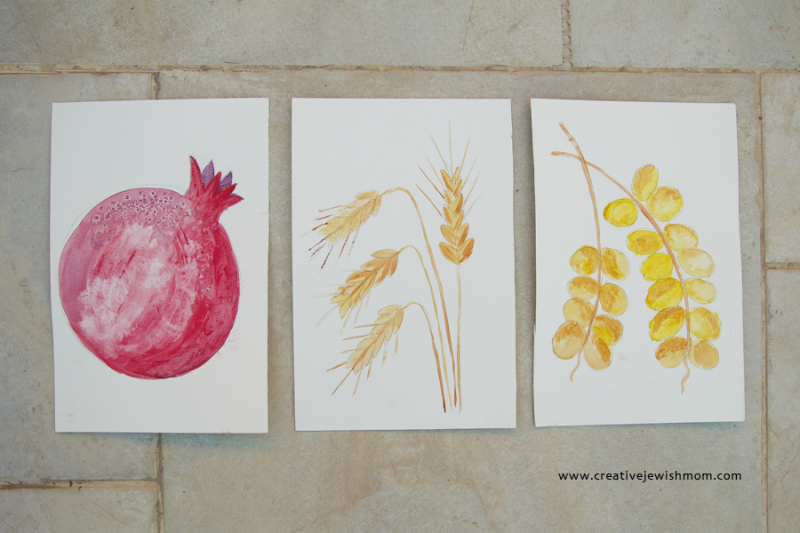 Watercolor Fruit Art Pomegranite,Wheat, Barley