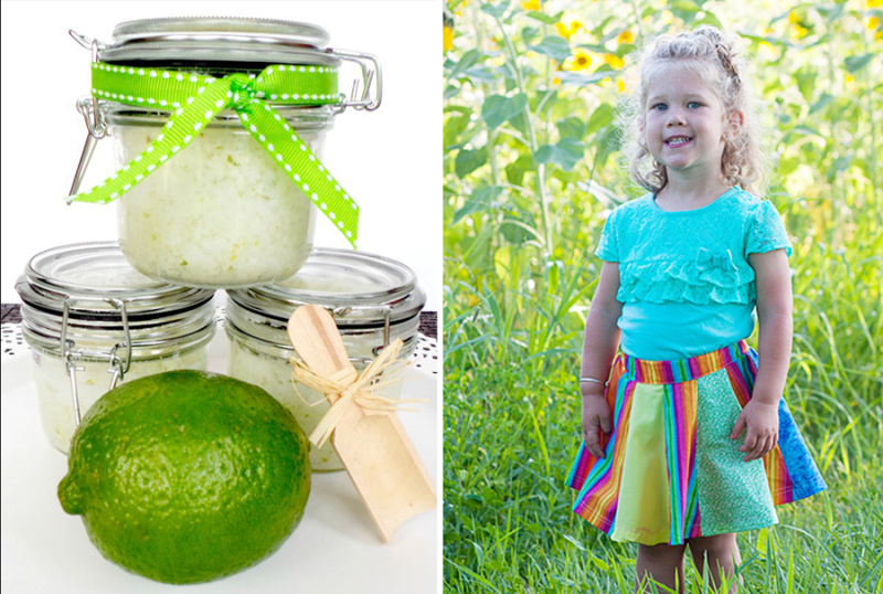 Rainbow circle skirt tutorial,coconut lime scrub
