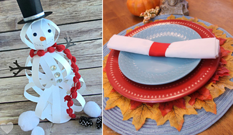 Paper snowman kid's craft, faux fall leaf placemats