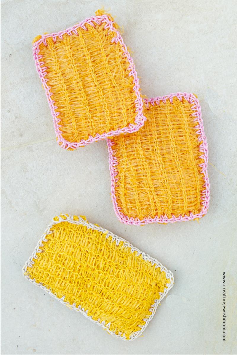 Crocheted potato sack scrubbies
