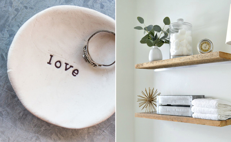 DIY bathroom shelves,air dry clay ring dish