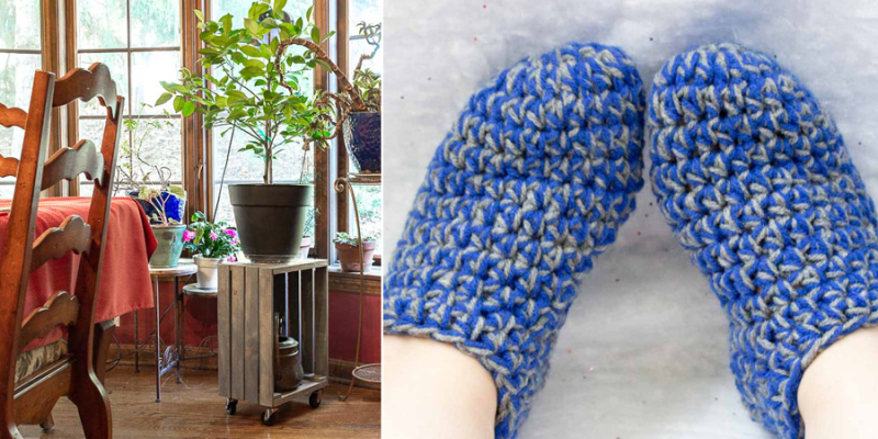 Rolling crate plant stand,crocheted chunky slippers