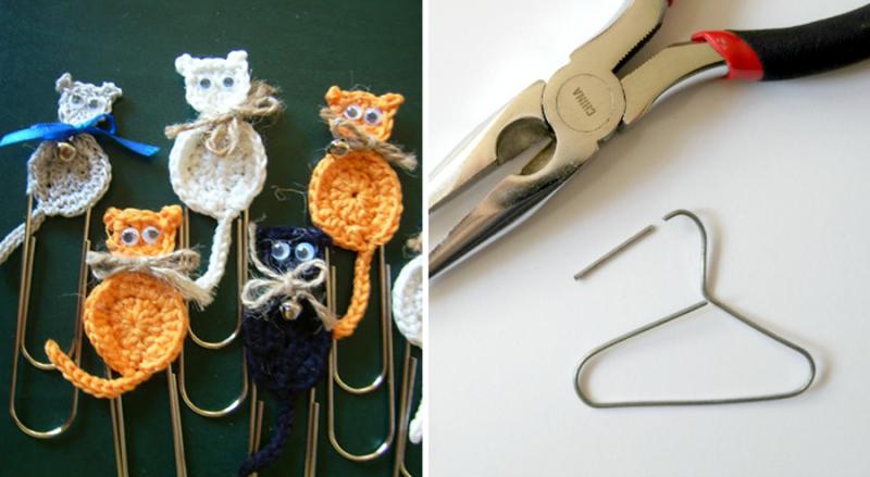 Paper clip hanger,paper clip crocheted cats