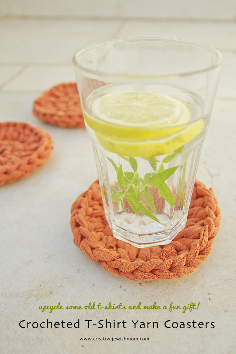 Crocheted T-Shirt Yarn Coasters