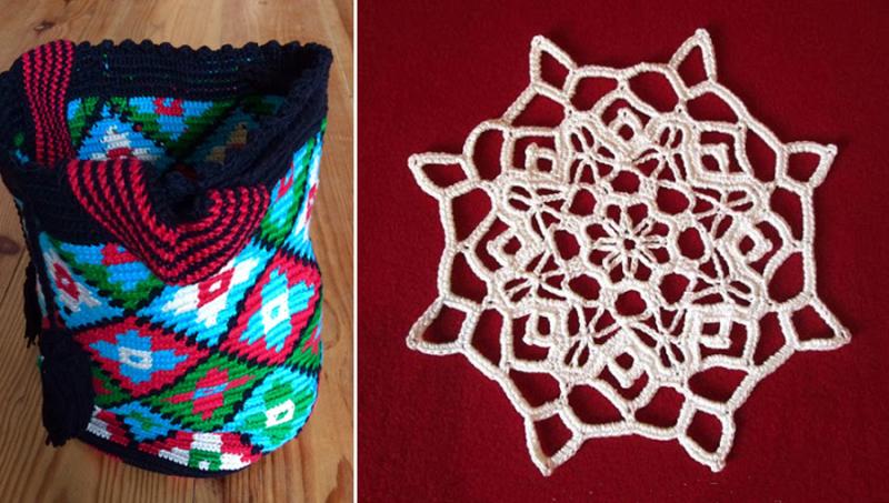 Crocheted duffle bag,crocheted star doily