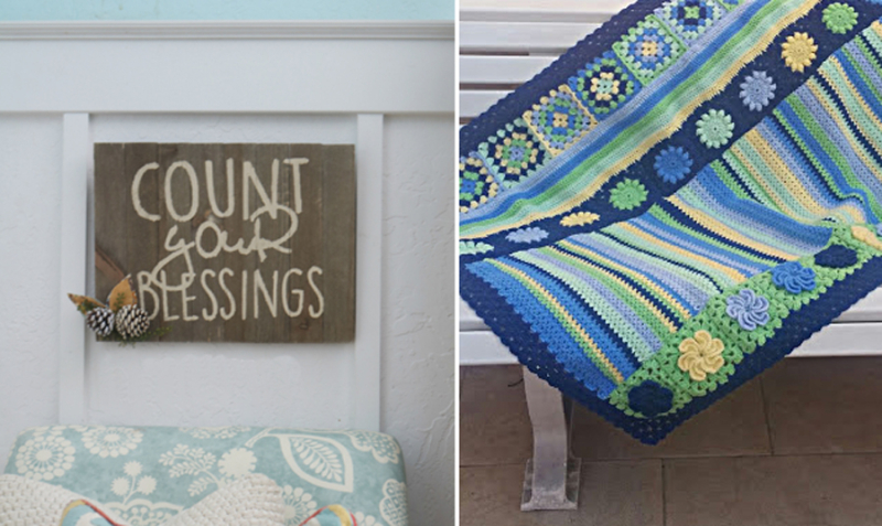 Count your blessings palette sign,crocheted blanket