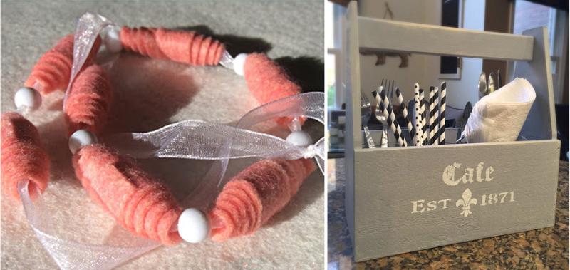 Rolled felt beads,DIY utensil trough