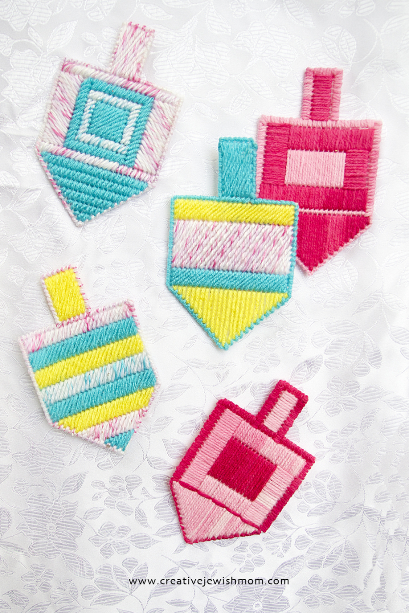 Plastic Canvas Embroidered Dreidels