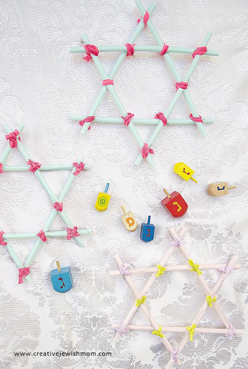 Drinking Straw Stars for Hanukkah