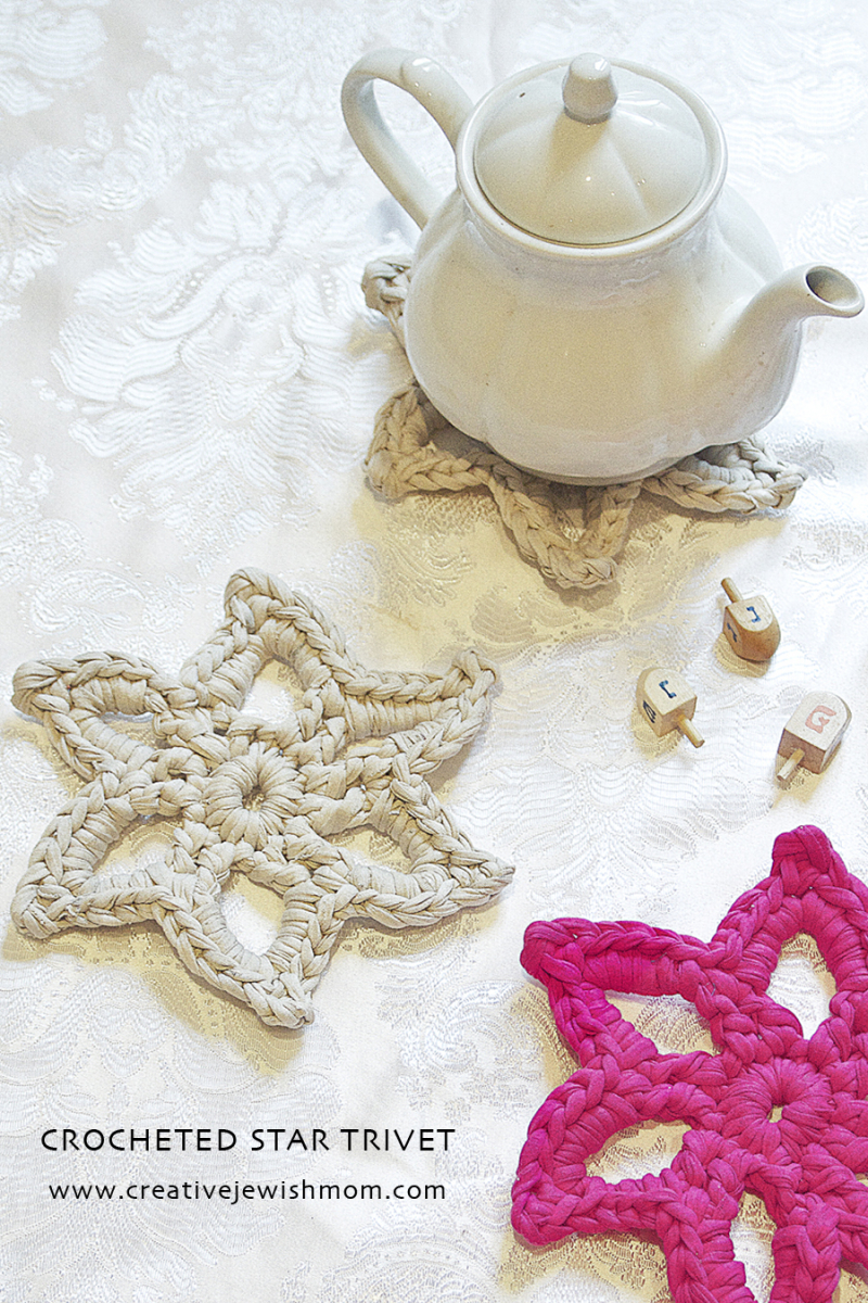 Crocheted T shirt yarn star trivet quick gift
