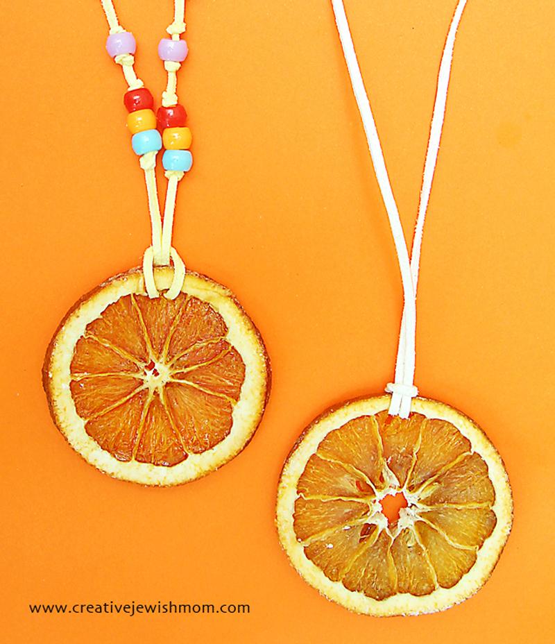 Orange slices dried necklace craft
