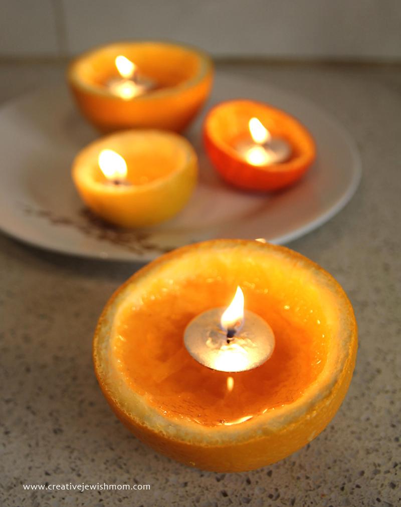 Orange rind tea lights