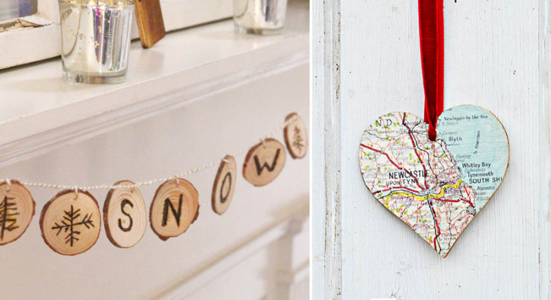 Map heart ornament,wood burned winter garland