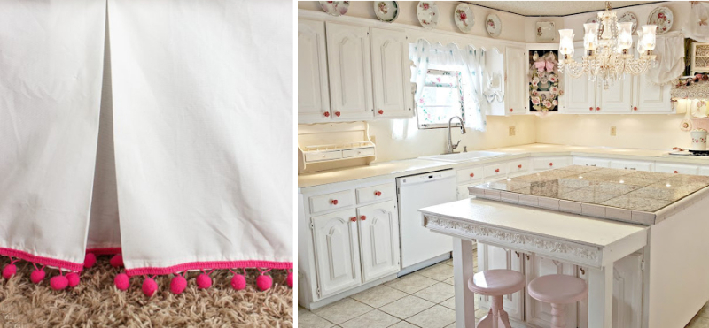 DIY pom pom bed skirt vintage romantic kitchen