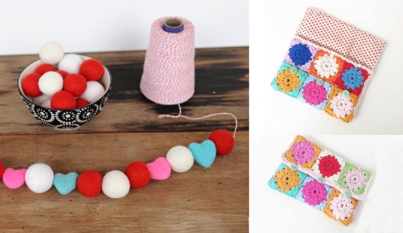 Felted garland,crocheted pencil case with fabric lining