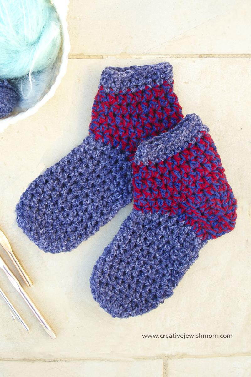 Crocheted Chunky Slipper Socks two toned