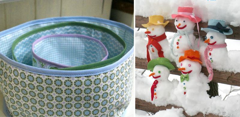 Nesting fabric baskets,felt snowman accessories
