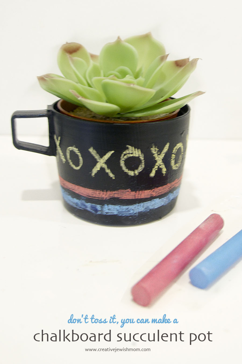 Chalkboard succulent pot upcycled DIY