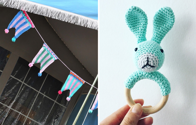 Crocheted bunny rattle,striped crochet flag bunting banner