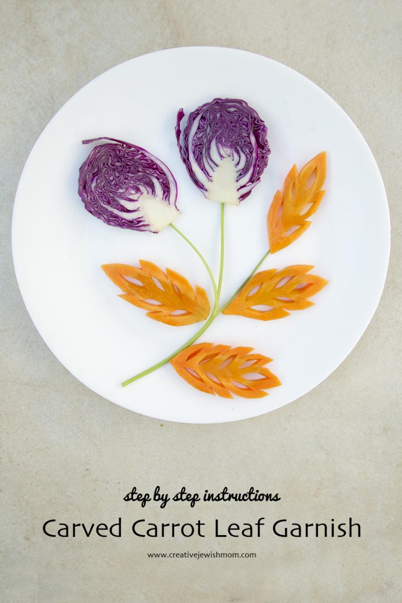 Vegetable carving carved carrot leaf garnish