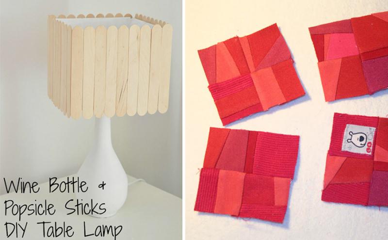 Mini memory quilt crazy squares,wine bottle lamp