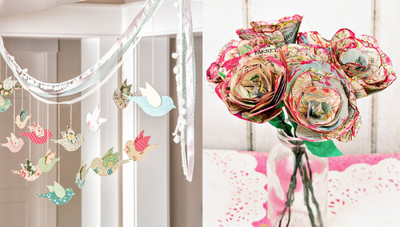 Map flowers,hanging birds garland