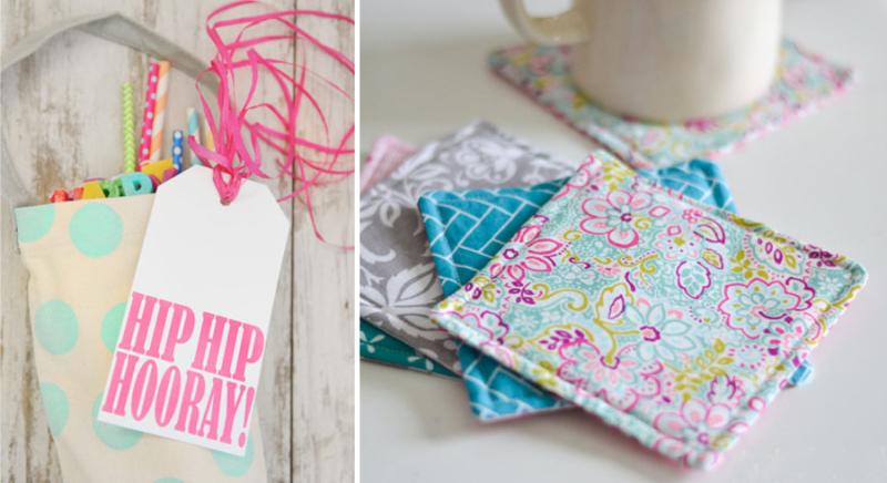 Birthday in a bag,DIY mug rug with fun fabric