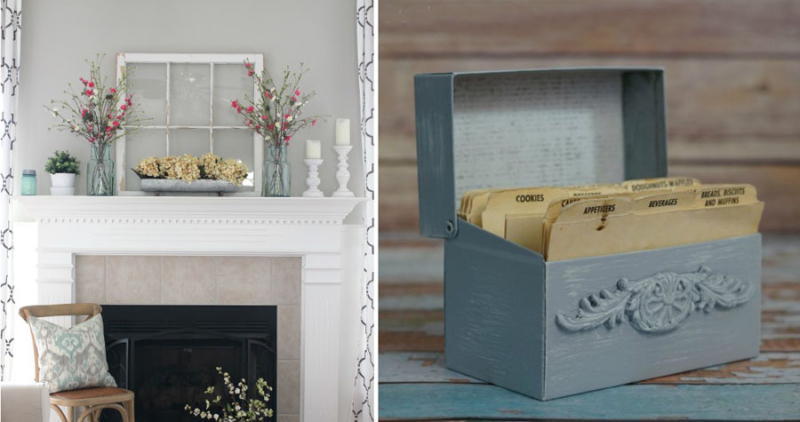 Revamped recipe box,spring mantel with vintage window frame