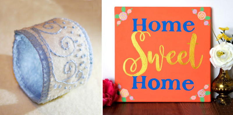 Felt embroidered bracelet,home sweet home sign