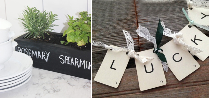 Vintage card garland with lace,herb planter for kitchen counter