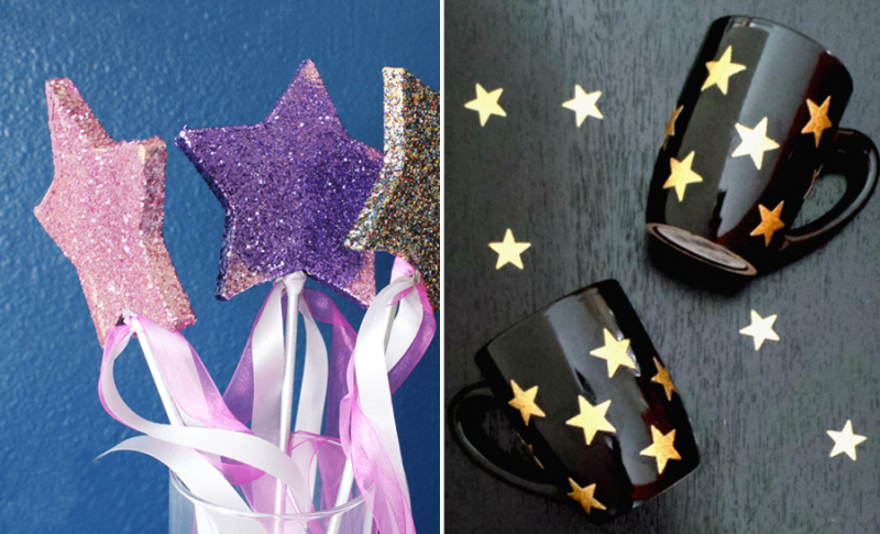 Glitter star wands,gold star mugs