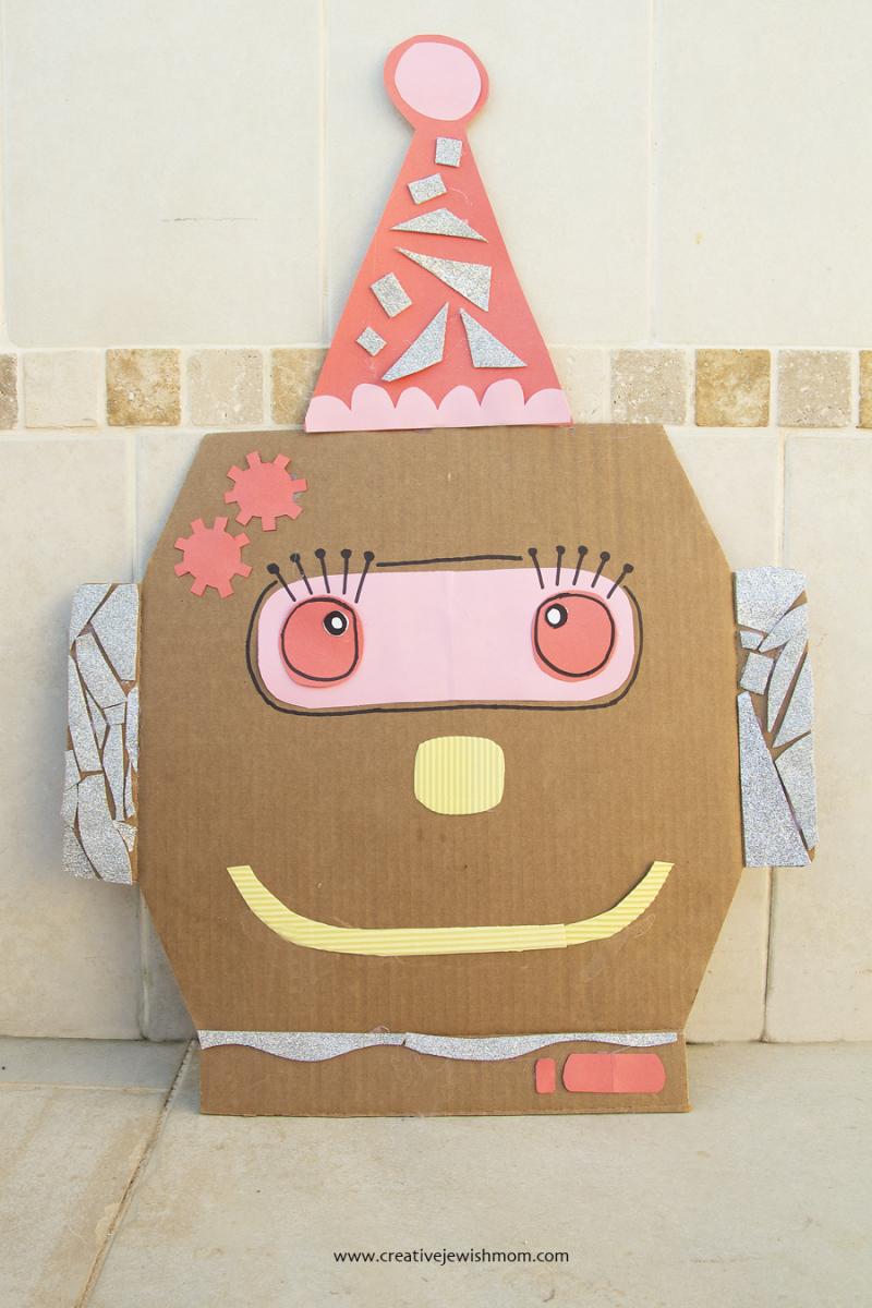 Purim Pizza Box Top Robot Clown