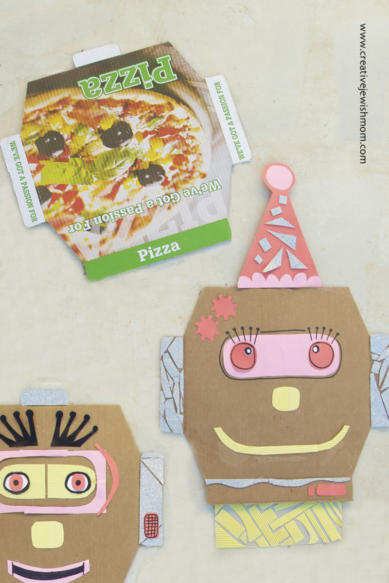 Purim Pizza Box Clown Robot