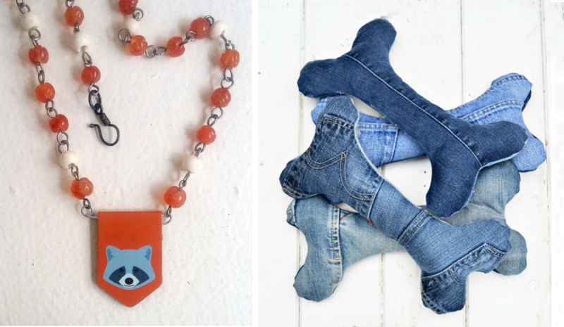 Denim dog bone toys,raccoon necklace