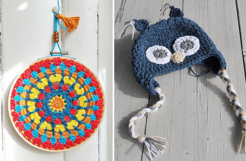 Crocheted embroidery hoop mandala croche ted owl hat
