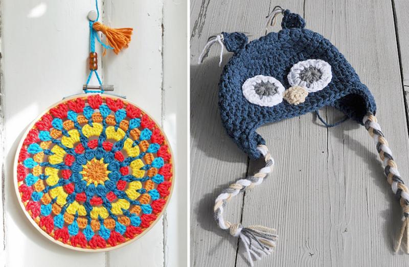 Crocheted embroidery hoop mandala croche ted owl hat