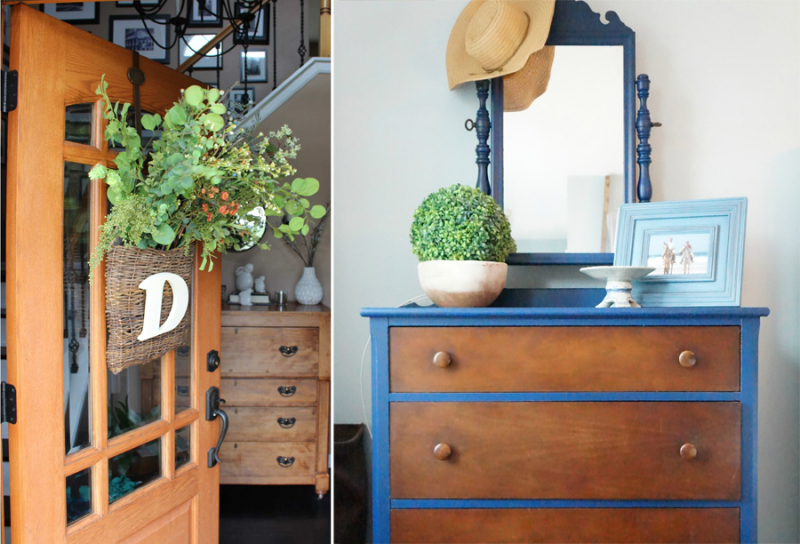 Farm home tour dresser with blue frame