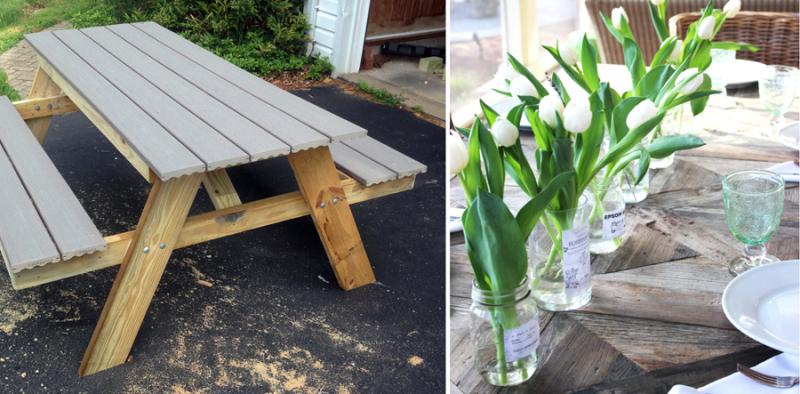 DIYpicnic bench tulip jar vases centerpiece