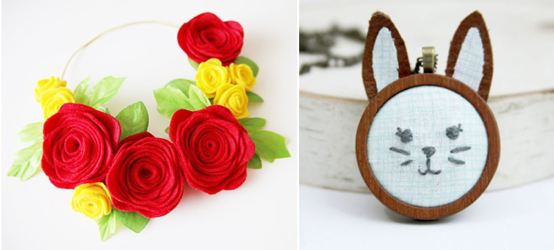 Felt roses crown  bunny necklace