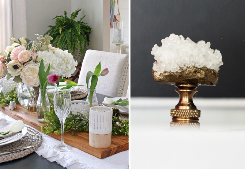 Faux crystal lamp finial spring table with fake flowers