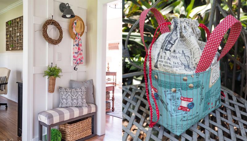 Board and batten front hall walls drawstring sewing bag with handles
